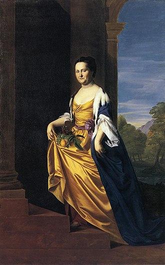 Jeremiah Lee Mansion - Mrs. Jeremiah Lee, oil on canvas, John Singleton Copley, c. 1769. Wadsworth Atheneum