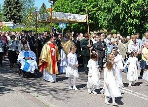 Corpus Christi procession in Mrzeżyno, Poland