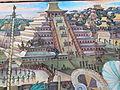 Murales Rivera - Indianer vor Tenochtitlan - Pyramide.jpg