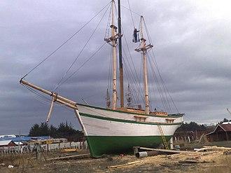 Chilean schooner Ancud (1843) - Image: Museo Nao Victoria Punta Arenas Chile Réplica de la Goleta Ancud ultimos adjustes en los mastiles