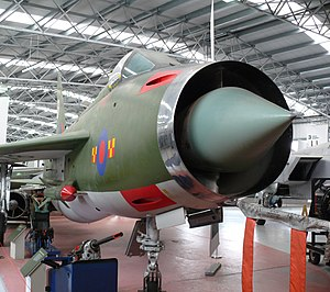 RAF Gütersloh - English Electric Lightning in the National Museum of Flight in East Fortune, Scotland. It is displayed in the colours of No 92 Squadron, located at RAF Gutersloh with whom it served until 1977.