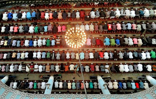 Muslims praying in a Masque in Bangladesh
