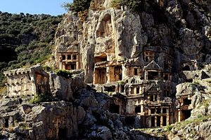 Rock-cut tomb - Image: Myra Rock Tombs