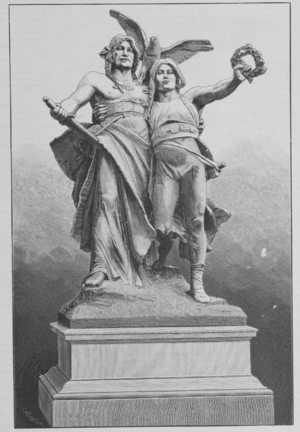 Záboj - Sketch of statues of Záboj and Slavoj (1895) on the Palacký Bridge in Prague