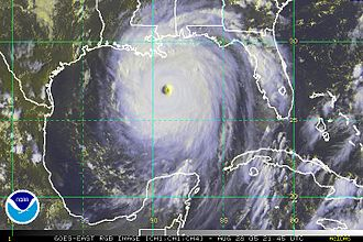 Hurricane Katrina - Katrina on August 28, nearing the Gulf Coast.
