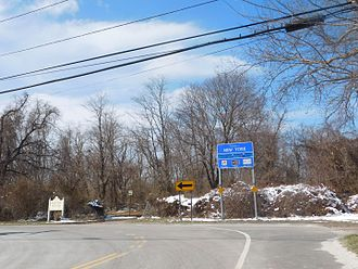 New York State Route 25 - NY 25 in Orient Point after leaving the Cross Sound Ferry