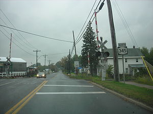 New York State Route 345 - NY 345 crossing the CSX St. Lawrence Subdivision in Potsdam
