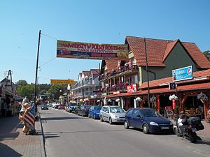 Łeba - Nadmorska, one of the main tourist streets in Łeba, facing west.