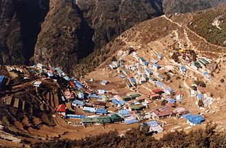 Hill station - Village of Namche Bazaar in Nepal