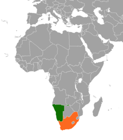 Map indicating locations of Namibia and South Africa