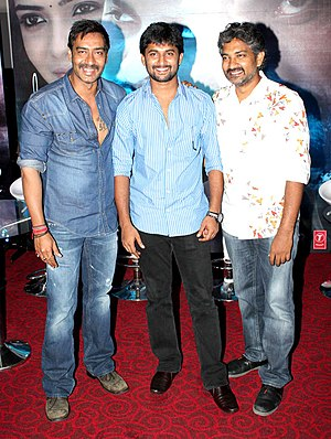 S. S. Rajamouli - Ajay Devgan, Nani and Rajamouli during the special screening of Makkhi-(Hindi dubbed version of Eega (2012)