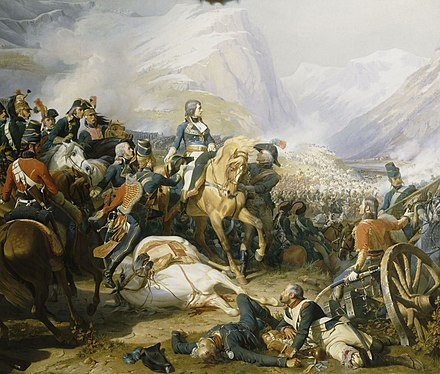 Bonaparte defeats the Austrians at the Battle of Rivoli (14 January 1797) Napoleon at the Battle of Rivoli.jpg
