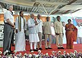 Narendra Modi addressing the gathering at the inauguration ceremony of New Integrated Terminal of Tirupati Airport, Andhra Pradesh. The Governor of Andhra Pradesh and Telangana, Shri E.S.L. Narasimhan.jpg