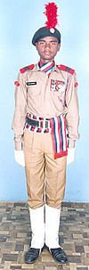 This image shows a NCC Army wing cadet wearing ceremonial dress of NCC.