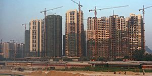 Urbanization in China - Urban construction work in a Chinese city, 2013