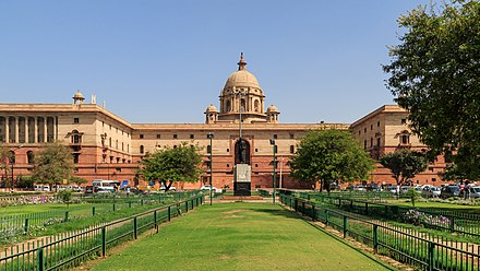 The Secretariat Building houses Ministries of Defence, Finance, Home Affairs and External Affairs. It also houses the Prime Minister's office. New Delhi government block 03-2016 img6.jpg