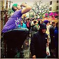 New Orleans Mardi Gras -babychris0 on his perch at 9AM doing it right! mardigras zulu parades beer.jpg