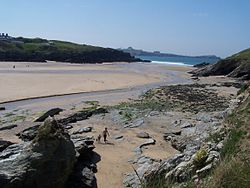 Sand and rocks at Porth