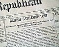Newspaper notice on HMS Vanguard explosion, July 14, 1917.jpg
