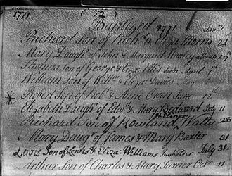 Robert Owen - Baptism record of Robert Owen in the Newtown Parish Register