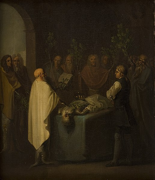 File:Nicolai Abildgaard - Niels Klim Attends the Sentencing of the Deceased Potuan Prince. - KMS3903 - Statens Museum for Kunst.jpg