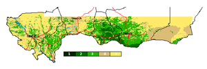 Agriculture in Niger - Cropland Use Indicator, drawn from Normalized Difference Vegetation Index (NDVI) data, for period 1986-1988.  Scale is: 1= 70% - 100% Crop coverage :: 2= 50% - 70% Crop coverage :: 3= 30% - 50% Crop coverage :: 4= 5% - 30% Crop coverage :: 5= 0% - 5% Crop coverage.