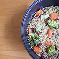 Noodles with broccoli, carrots and bacon.JPG