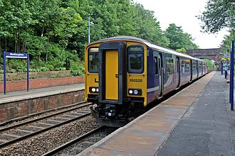 Westhoughton railway station - A Northern Class 150, with a service to Bolton in 2015