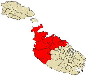 Northern Region, Malta - Image: Northern Region Malta map