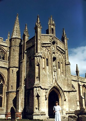 Porch - Highly decorated two-storey south porch of 1480 at Northleach Parish Church, England.