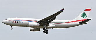 Flag carrier - An Airbus A330-200 of the Lebanese flag carrier Middle East Airlines.