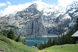Lake - Oeschinen Lake in the Swiss Alps