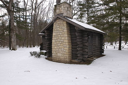 The lodge and cabins at White Pines Forest State Park, in Illinois, are part of a multiple property submission. Ogle County White Pines Lodge3.JPG