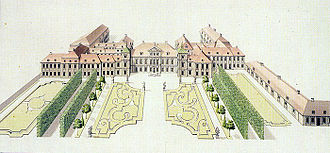 Saxon Palace - Saxon Palace in the 18th century, view from the Saxon Garden.
