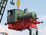 Old lock hanging on crane at Sinsheim p3.JPG