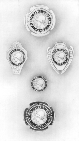 Olympic 1908 badges.png