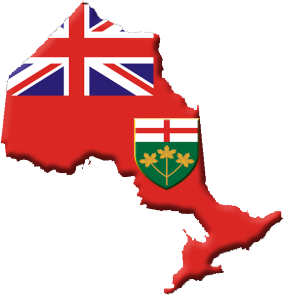 Ontario Flag by Qyd (talk · contribs) [Public domain]