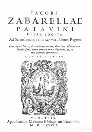 Jacopo Zabarella - Title page of Opera logica (1578).