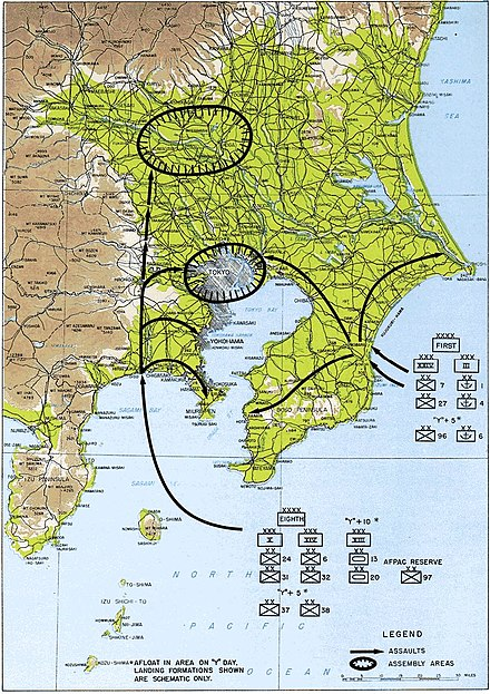 March 1946's Operation Coronet was planned to take Tokyo with a landing of 25 divisions, compared to D-Day's 12 divisions. Operation Coronet.jpg