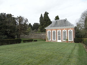 Stevenstone - The Orangery, Stevenstone House, St Giles in the Wood, Devon. Built by John Rolle (1679-1730), MP, c. 1715-1730. Showing also remnant of pinetum