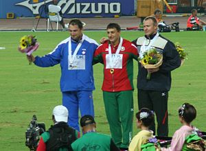 Hammer throw - World Athletics Championships 2007 in Osaka - Victory Ceremony for Hammer Throw with winner Ivan Tsikhan (middle)