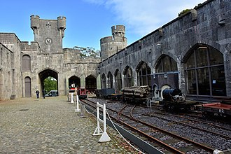 Penrhyn Castle Railway Museum - Outside exhibition of narrow-gauge rolling stock