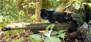 M110 Semi-Automatic Sniper System - The M110 SASS with AN/PVS-10 Sniper Night Sight.