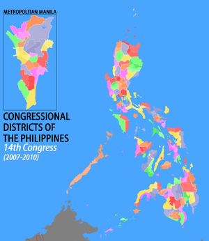 14th Congress of the Philippines - Map of legislative districts of the Philippines as apportioned for the 2007 elections; The boundaries between independent cities and their former provinces are not shown on this map, so are the boundaries between independent cities/municipalities (Malabon-Navotas, Pateros-Taguig).