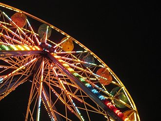 East Vancouver - A ferris-wheel at the current Pacific National Exhibition (PNE) during its annual Fright Nights, around Halloween.
