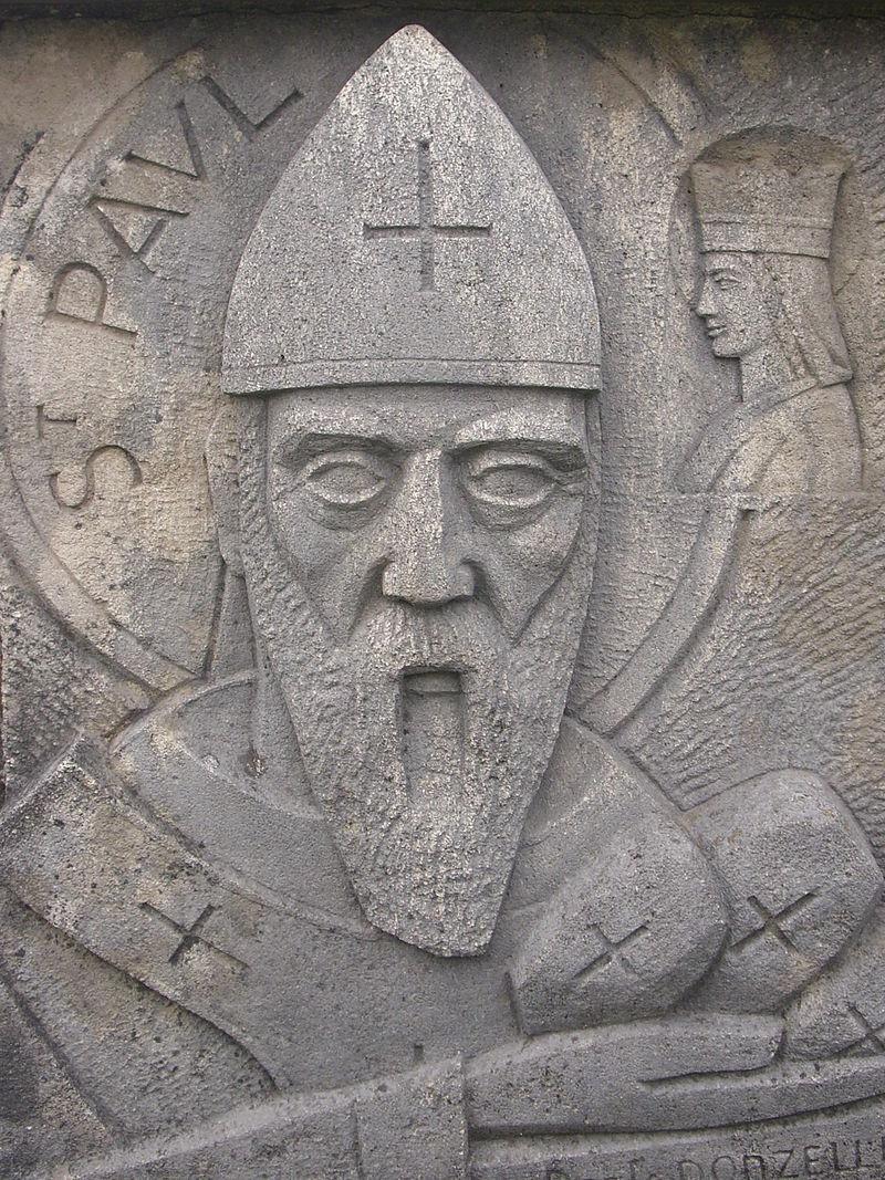 Dante Donzelli (1909-90): Detalj fra alteret i Paul-Croix near Verdun på veien til Nancy, mellom Belrupt og Haudiomont, som viser Paulus som deler ut tre små brød