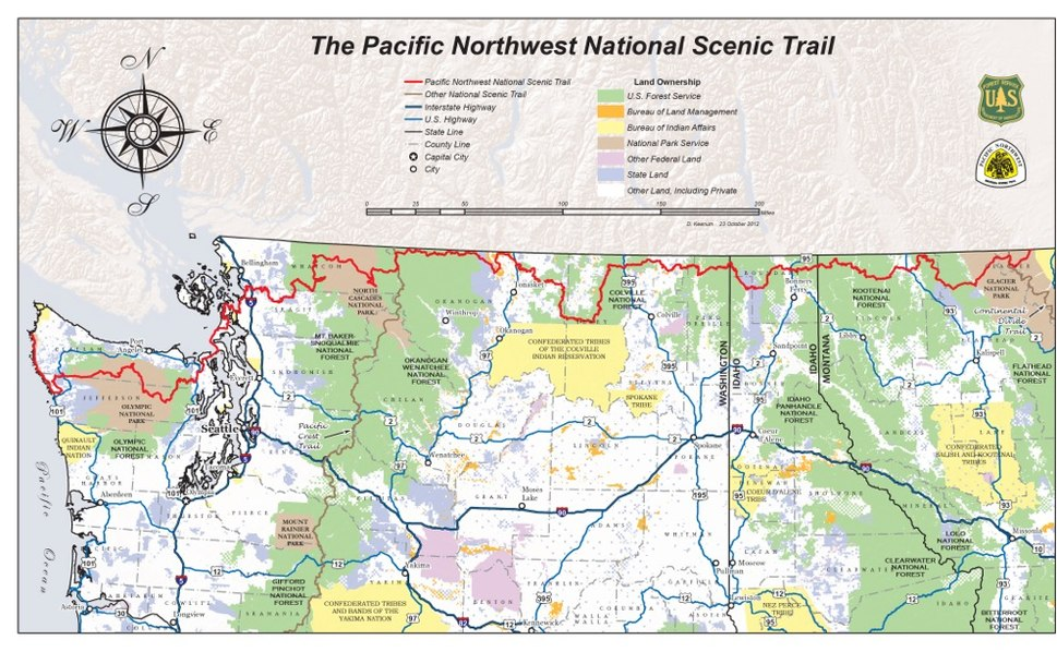 Pacific Northwest National Scenic Trail overview map