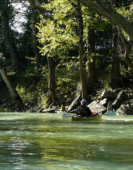 Canoeing on the Mulberry River Paddling Near Ozark Arkansas.jpg