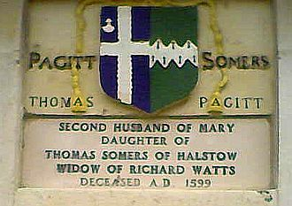 Richard Watts - Plaque recording Mary's second marriage on the Six Poor Travellers house