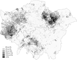 Pakistani community of London - Proportion stating that their ethnic group was Pakistani in the 2011 census in Greater London.